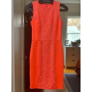 RACHEL Rachel Roy Neon Orange/Peach fitted dress 0